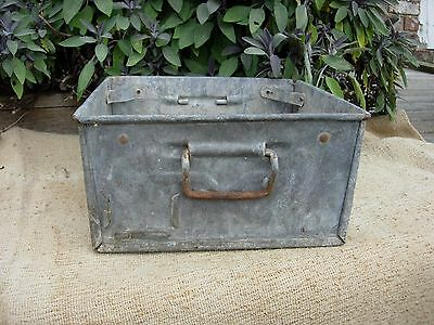 Vintage Weathered Industrial Galvanised Metal Trough Tray Garden  Planter (889)