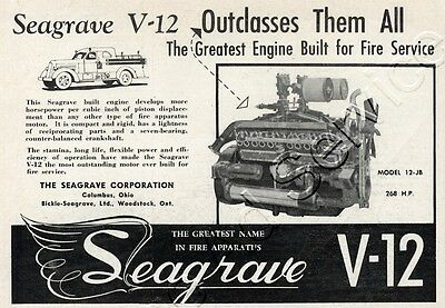 1950 Seagrave V-12 Engines for Fire Service Columbus OH Small Original Ad
