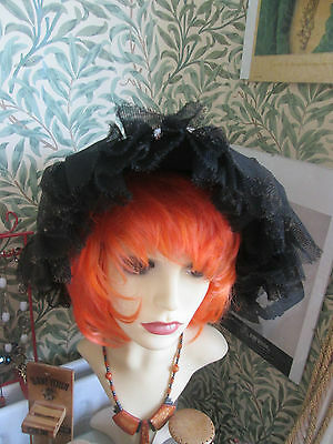 Vintage French Black/lace Hat With Time Worn Roses On Band