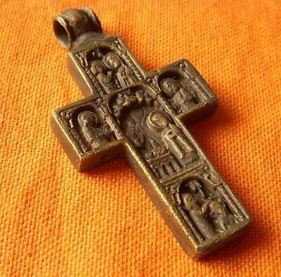 A225. Medieval style bronze double cross.Very nice!