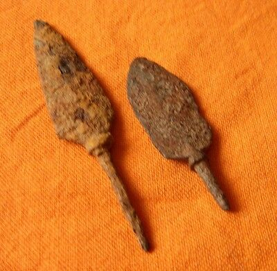 A210. Authentic Dark ages iron arrowheads. Lot of 2