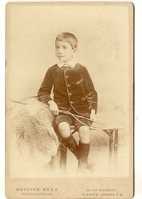Victorian Cdv Cabinet Photograph Well Dressed Young Boy With Whip Bayswater
