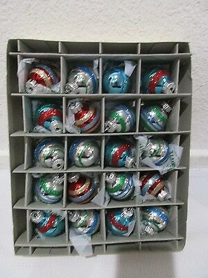 Christopher Radko Christmas Shiny Brite Red Green Blue MINI Glass Ornaments NIB