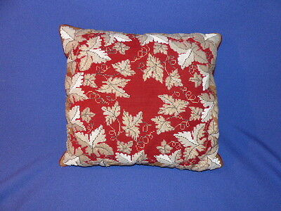 Antique Late Victorian Beadwork Cushion - Old Beaded Pillow - Tapestry Cushion