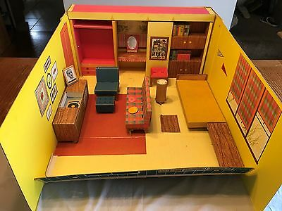 Vintage 1962 62 Barbie Dream House Cardboard Doll House w/ Furniture Accessories
