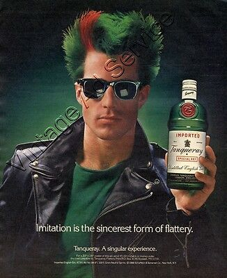 "1989 Tanqueray ""Imitation is the sincerest form of flattery"" Original Ad"