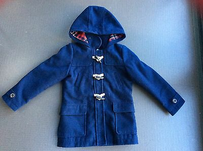 M&S Girl's Navy Blue Duffle Coat - School Coat, Age 7-8, FAB Condition