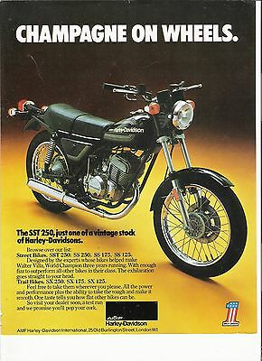 Harley Davidson SST250 classic period motorcycle advert 1977
