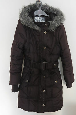 Brown girls winter puffa coat jacket Age 8-9 Hooded Quilted Warm