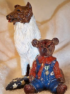 """Dog Figurine ROUGH COLLIE & BEAR Sitting """"Tommy's Bear"""" Handpainted Resin CUTE"""