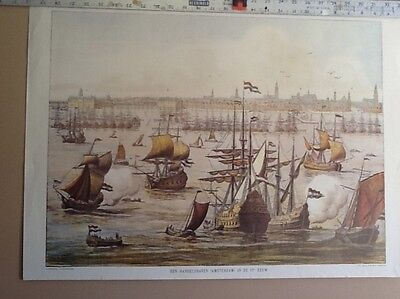 Print of Amsterdam's Harbor in the 17th Century