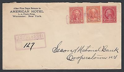 Usa 1927 American Hotel Registered Cover Worcester To Cooperstown New York