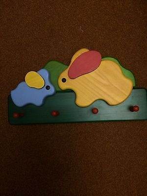 Childrens Colourful Wooden Coat Hooks with Rabbits