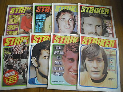8 x STRIKER FOOTBALL MAGAZINES FROM 1970-1972