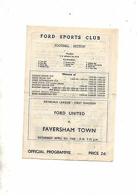 Aetolian League:FORD UNITED v FAVERSHAM TOWN 1959/60.