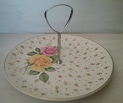 Lovely Vintage Cake Stand Gilded Yellow Pink Roses Chrome Handle