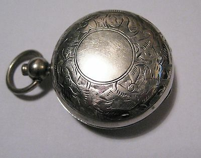 Antique Victorian Sovereign Case Watch Chain Fob Silver Plate