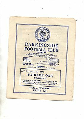 London League:-BARKINGSIDE v EAST HAM UNITED 1957/8.