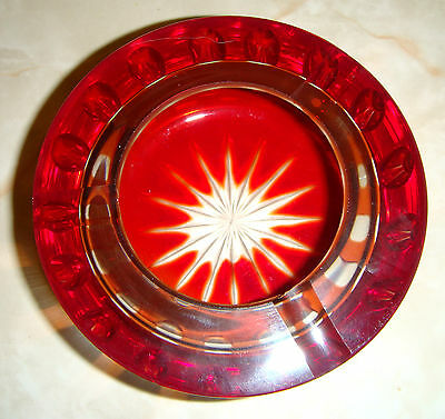 Cranberry glass style vintage cut glass ash tray/bowl.