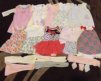 0-3 Months Bundle Baby Girls Dresses And Tights Excellent Condition