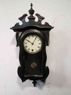 Very Small Vintage Carved Ebony Serpentine Wall Clock--Only 24 Inches