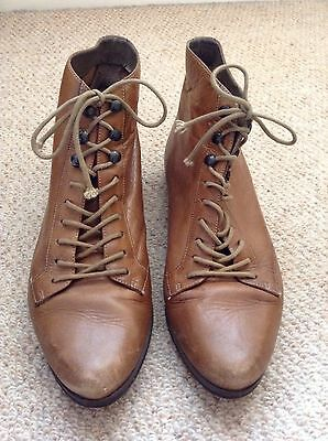 Brown Leather Lace-Up Vintage Boots Uk4