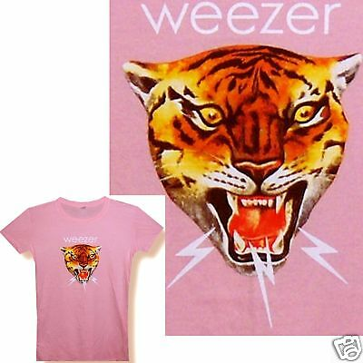 "Weezer ""tiger"" Pink Baby Doll Girls T-Shirt Medium New Official"