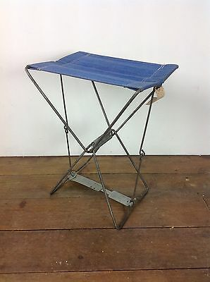 Vintage Child's Folding Camping Stool Chair Steel Old Retro Picnic