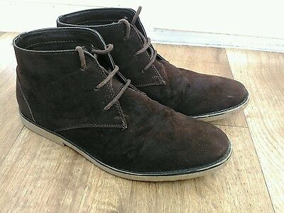 mens brown desert boots size 9 casual shoes suede