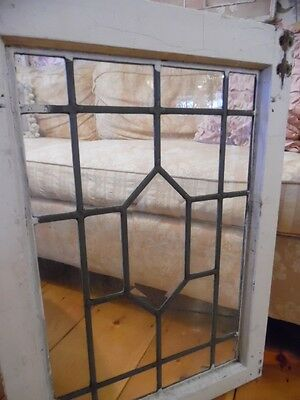 Antique Architectural Salvage Leaded Beveled Glass Window Shabby Garden