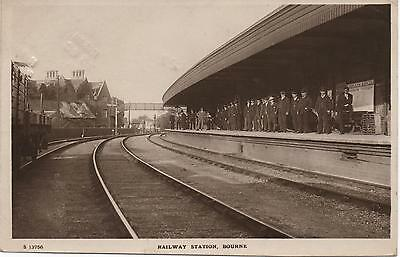 Super early RP: BOURNE Railway Station Interior. M&GNR - (Postage due stamps)