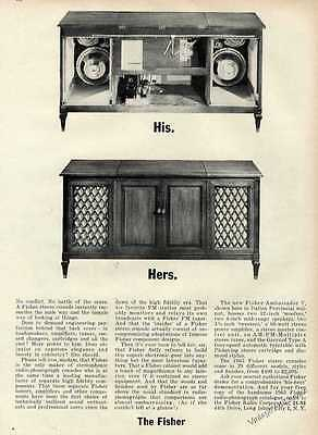 1962 Fisher Stereo Console Unique Front & Rear Views Print Ad