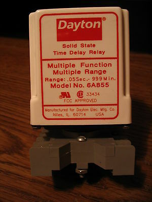 Used Dayton 6A855 Solid State Relay 0.01 sec - 999 min with Base