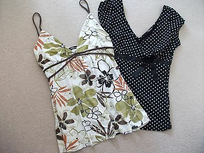 2 x Jane Norman Tops Size 10 Summer Strappy Tropical Polka Stretch Lot Bundle