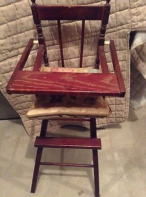 "Vintage Wooden Baby Doll High Chair Flip Tray 18"" Tall to seat 1950's ""ON SALE"""