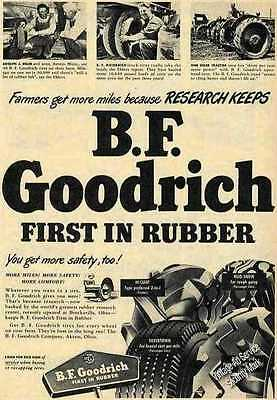 B F Goodrich First in Rubber Tractor Tires Ad 1948 Original