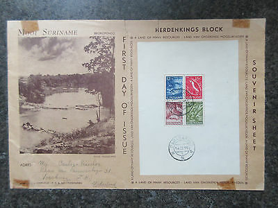 Suriname 1955 Land of Many Resources (Wildlife) Mini Sheet on First Day Cover