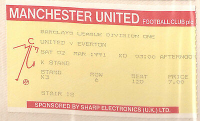 MANCHESTER UNITED V EVERTON 2nd MARCH 1991 USED MATCH TICKET RYAN GIGGS DEBUT!