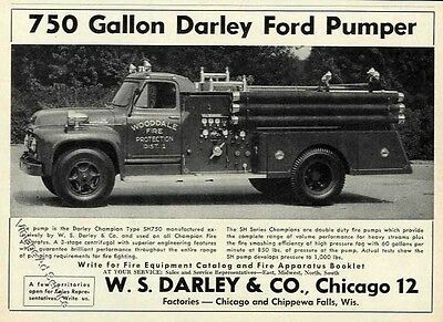 1956 Darley Ford Pumper Photo Advertisement Wooddale Fire Protection on Door