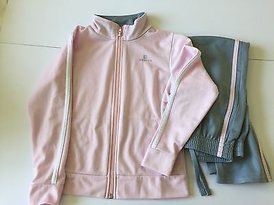 Domyos Girls track suit Light weight 6 years Silver grey and pink.