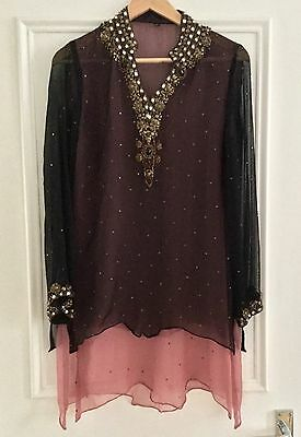 Beautiful Silk Georgette Beaded Tunic/Beach Cover can be worn as Indian tunic