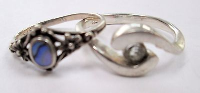 Two good quality vintage sterling silver rings (abalone, diamond paste)