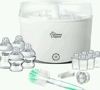 Tommee Tippee Closer to Nature Electric baby  Bottle Steriliser Starter kit Clea