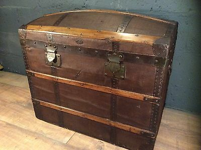 antique vintage french shipping travel trunk chest