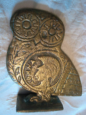 Vintage OWL SOLID BRASS  Paperweight Figurine