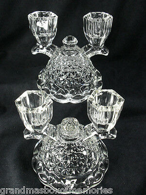 Imperial Glass Company LACED EDGE Double Light Clear Candle Holder Clear Pair!