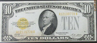 1928 $10 Gold Certificate - circulated No rips or tears. Fine to VF