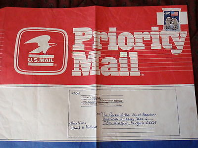 USA PRIORITY MAIL Entire Cover FL to US Embassy London UK Scott 2419 Space Moon
