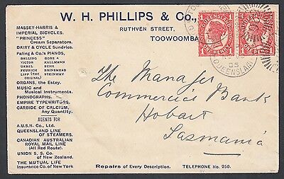 Queensland Australia 1905 Phillips & Co Advertising Cover Toowoomba To Hobart