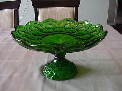 Vintage Le Smith Glass Green Moon & Star Large Footed Cake Plate Compote